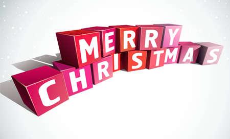 Merry christmas inscription made of colour bricks