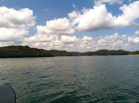 Fluffy clouds over Dale Hollow Lake