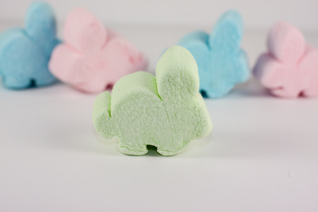marshmellow: Assorted Marshmellow Easter bunnies isloated on white.
