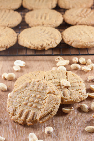 Peanut Butter Cookies cooling on a rack. photo