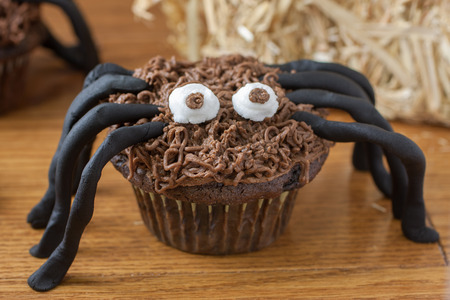 arachnid: Chocolate cupcake spiders on a wooden surface with a bale of straw in the background. Stock Photo