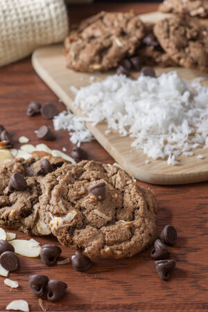 resemble: Cookies made with coconut, chocolate, and almonds to resemble the ingredients in German Chocolate Cake. Stock Photo