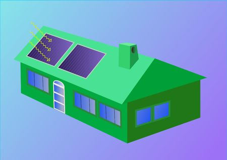 svg: jpeg image from svg vector. Illustration of a green solar house.