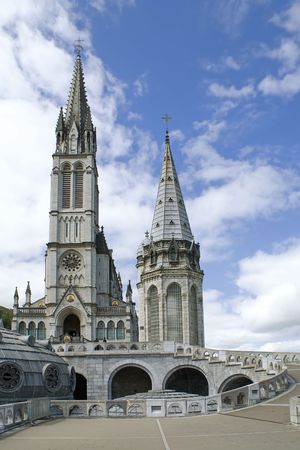 Close up of the Cathedral of Lourdes in France