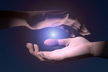 renewabel: Hands protecting energy spark