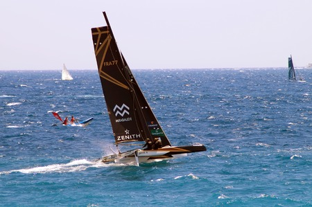 voile: NICE, France - JULY 2015, 25 : Le tour de France a la Voile . ACT  9 (second day). City of NICE :  Coastal Race.The Trimaran SPINDRIFT is the winner of the competition.Le tour de France started on the city of Dunkerque (Northern of France) on July 3 Th  Editorial
