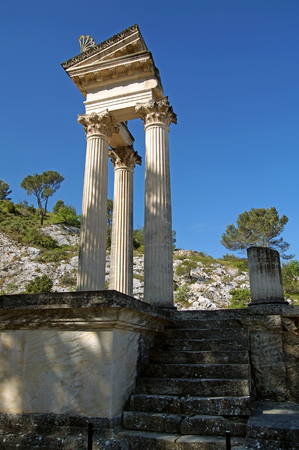 Ruins of the ancient fortified town Glanum near Saint-Rémy-de-Provence in South France, founded by a Celto-Ligurian people  in the 6th centuryBCE. It became a Roman city in 27 BCE