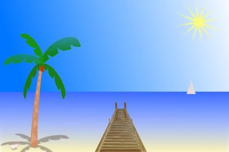 Illustration eines sonnigen Tag am Strand Standard-Bild - 81354201