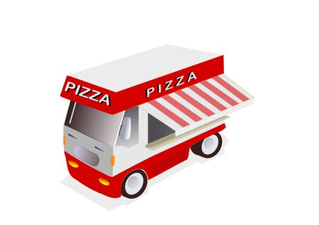 illustration of red Pizza truck on white background