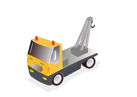 illustration of yellow tow truck on white background