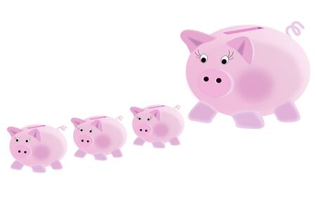 Illustration on the concept of piggy bank: to multiply your savings Stock Photo