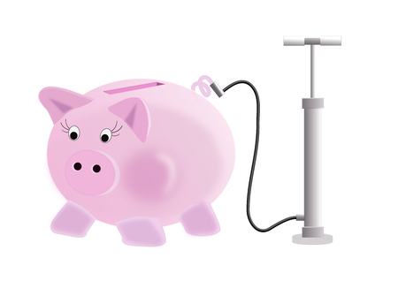 illustration of piggy bank in the concept : pump up your piggy bank