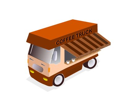 illustration of Coffee truck on white background