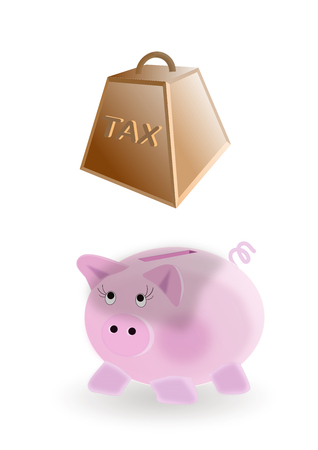 illustration on the concept of piggy bank : taxes on money savings Stock Photo