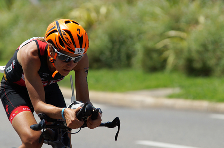 NICE - JULY 27, 2017 : IRONMAN Nice 2017. Competitor at the end of the 180 km bike tour. Charlene OTTEVAERE (104) finishing the bike tour.