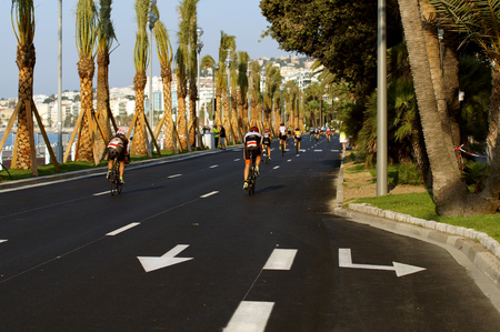NICE - JULY 27, 2017 : IRONMAN Nice 2017. Competitors starting for the 180 km bike tour