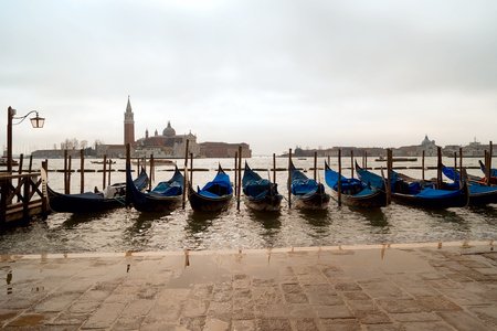 Traditional Gondolas in Venice, waiting for passengers.
