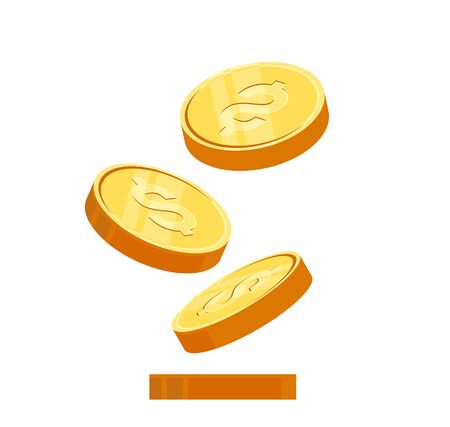 Gold coins cash money, Isolated on white transparent background. Vector eps10 illustration. Stock Illustratie