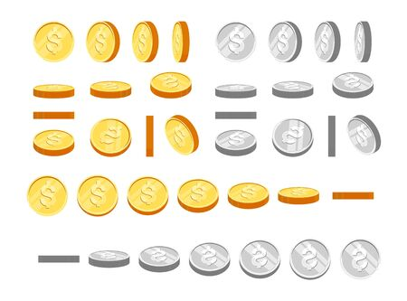 Gold and silver coins with dollar symbol, set of icons at different angles for animation. Flat cartoon gold and silver coins set. Modern vector illustration. Ilustração