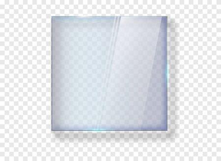 Glass banner. Gloss rectangle plate transparent . Vetores