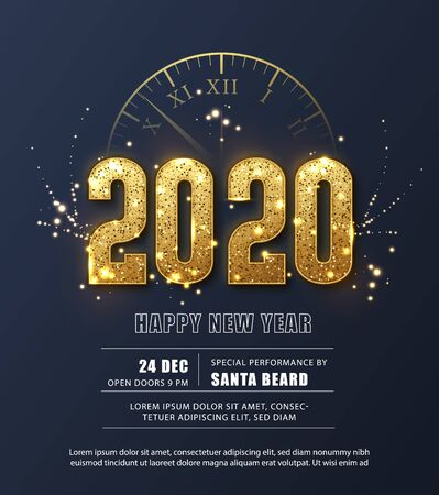 Happy New Year 2020 - New Year Shining background with gold clock and glitter. Festive poster or banner design Illustration