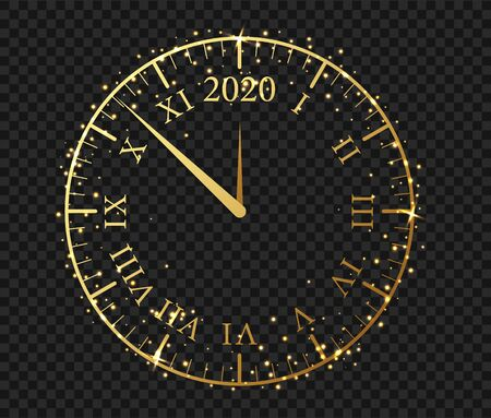 New Year 2020 golden clock. Сlock with a Roman dial a few minutes until midnight 2020. Ilustracja