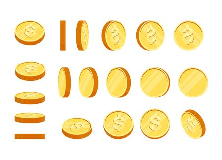Golden coins set in different positions. Balance profit, income statement and cash flow statement. Isolated vector illustration