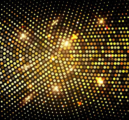 Gold Glitter Halftone Dotted Backdrop. Abstract Circular Retro Pattern. Pop Art Style Background. Golden Explosion Of Confetti. Digitally Generated Image. Vector Illustration