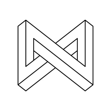 Impossible shape, optical illusion. Geometric optical illusion shapes or identity