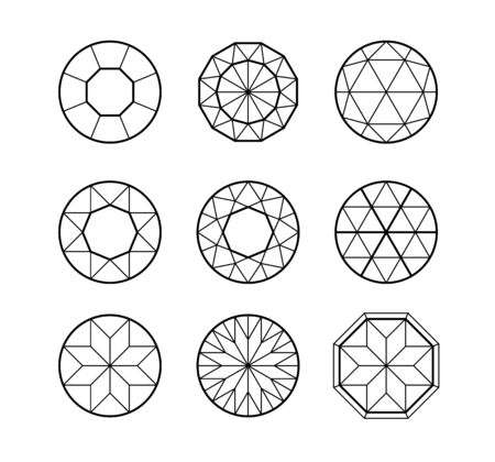 Set of lined isometric hexagonal gems . Rubies, diamonds, brilliants, sapphires, stones in linear sacral geometry style for the game, icon or your company logo 向量圖像