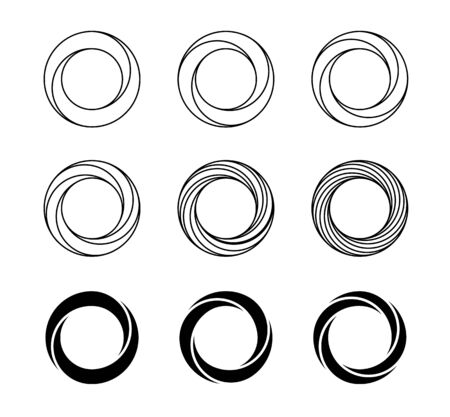 Optical illusion symbols vector set. Impossible shapes line art collection. Type of optical illusion, reality trick, fascinating objects of geometry