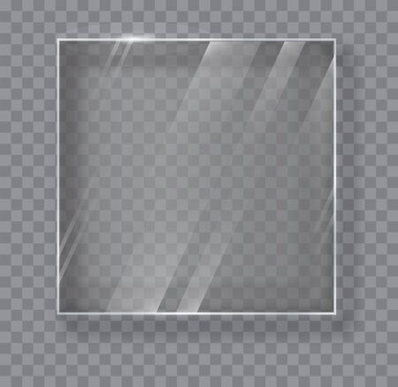 Transparent Glass Plate Mock Up. See through banner. Plastic banner with reflection and shadow. Glass banners on transparent background. Illustration