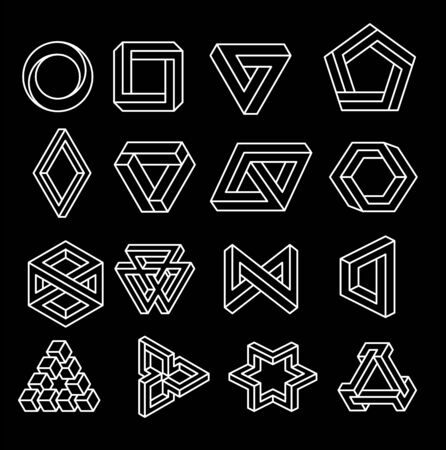Set of impossible shapes. Optical Illusion. Vector Illustration isolated on white. Sacred geometry. White on a black background