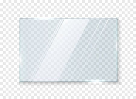 Glass window isolated on white background. Glass plates. Glass banners on transparent background. Vector illustration