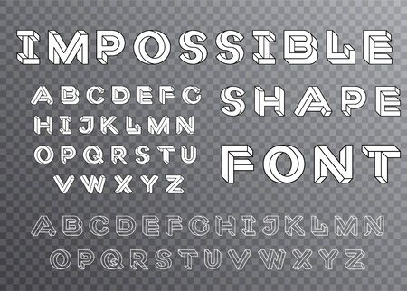 Impossible shape font design, alphabet letters and numbers vector illustration. Set of vector geometry letters. Geometric font. Vector illustration 10 eps