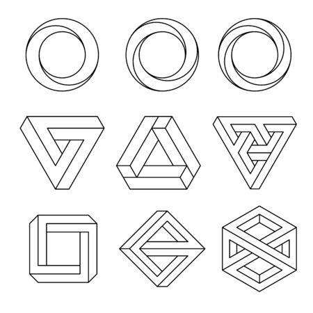 Set of impossible shapes, vector, line design Vetores