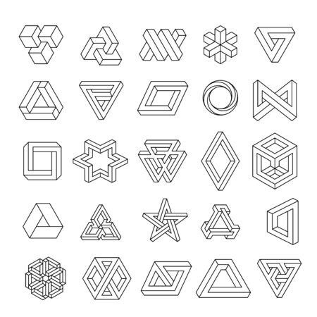 Set of geometric elements, impossible shapes, isolated on white, line design. Optical Illusion. Vector illustration
