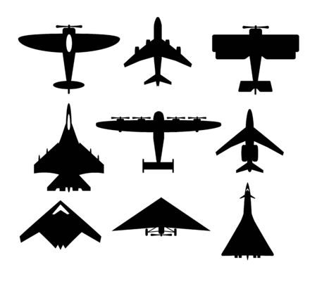 Set of airplanes silhouettes vector airplane icons passenger plane, fighter plane and screwvector illustration of aircrafts