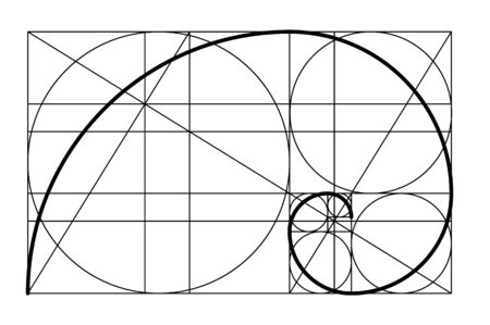 Golden ratio. Template golden spiral. Divine Proportions, Golden Proportion. Golden spiral. Fibonacci numbers. Logo. Vector icon. Logo