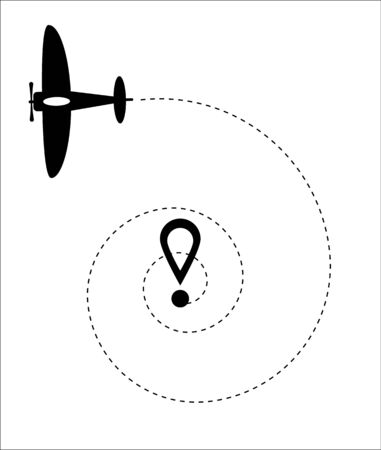 Airplane line vector icon of air plane path flight route with start point and dash line trace