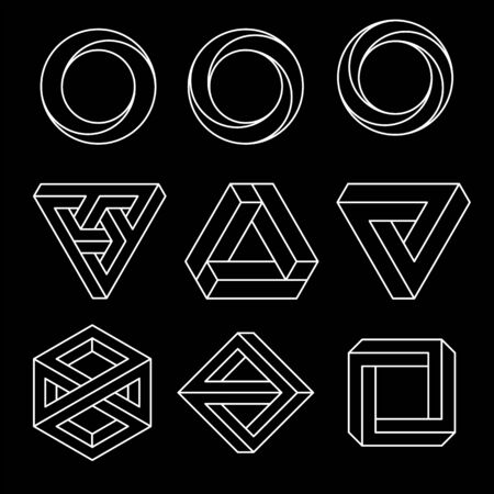 Set of impossible shapes. Optical Illusion. Vector Illustration isolated on white.