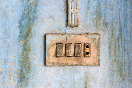 electric outlet: Old electric outlet in an old house interior on wall concrete Stock Photo