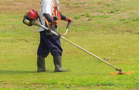 trimmer: Worker cutting grass in garden with the weed trimmer Stock Photo