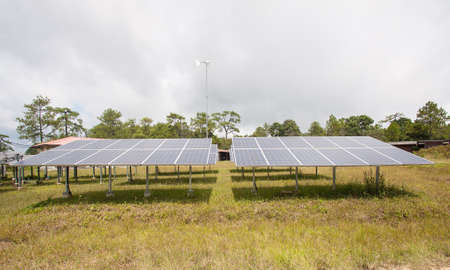 resourceful: Solar energy panels on a big field Stock Photo