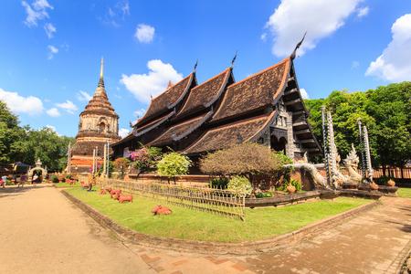 molee: Old wooden church of Wat Lok Molee at Chiangmai Thailand