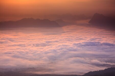 kradueng: Layer of mountains in the mist at sunrise time at Phu Kradueng National Park, Thailand