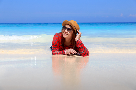 similan: Asia woman in Tropical beach, Similan Island, Andaman Sea, Thailand Stock Photo