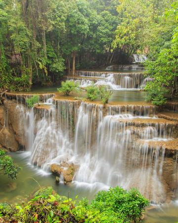 khamin: Huai Mae Khamin waterfall in deep forest, Thailand Stock Photo