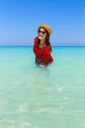 phangnga: Asia woman in Tropical beach, Similan Island, Koh Ta Chai, Andaman Sea, Thailand Stock Photo