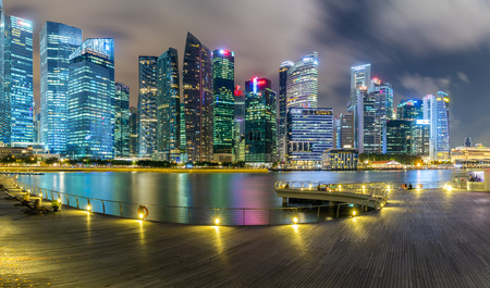 싱가포르 금융 지구 및 비즈니스 건물의 풍경